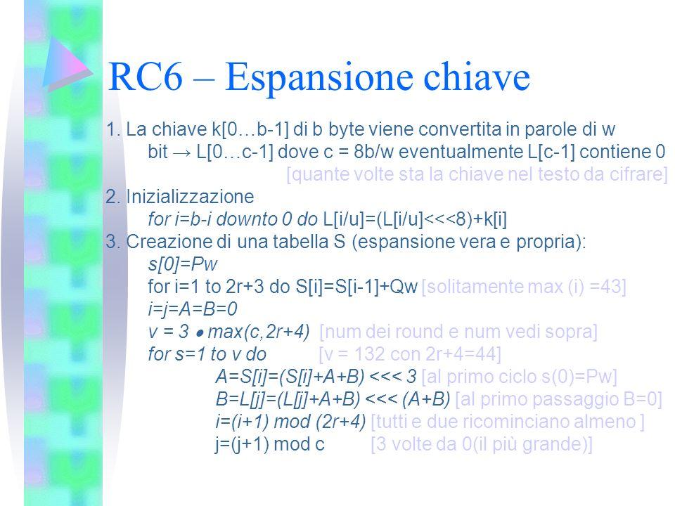 RC6 – Espansione chiave1. La chiave k[0…b-1] di b byte viene convertita in parole di w. bit → L[0…c-1] dove c = 8b/w eventualmente L[c-1] contiene 0.